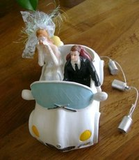 Sparkasse - Brautpaar im Auto just married